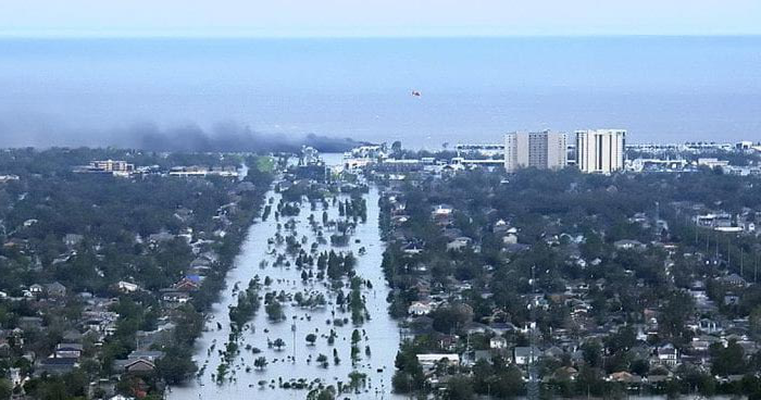 Aerial shot of New Orleans flooded after Hurricane Katrina