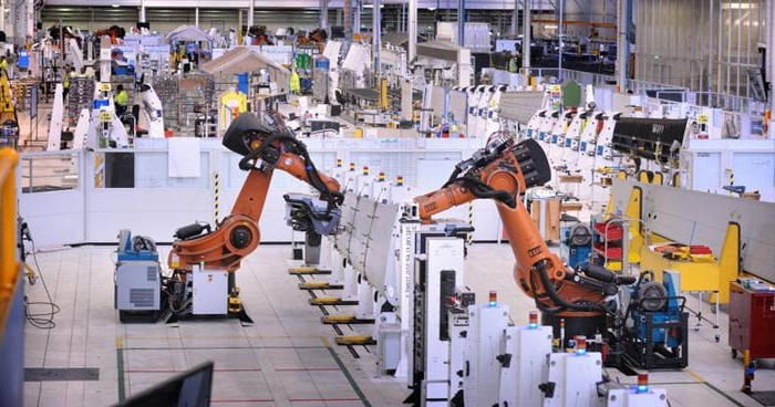 Factory floor with robots at Boeing
